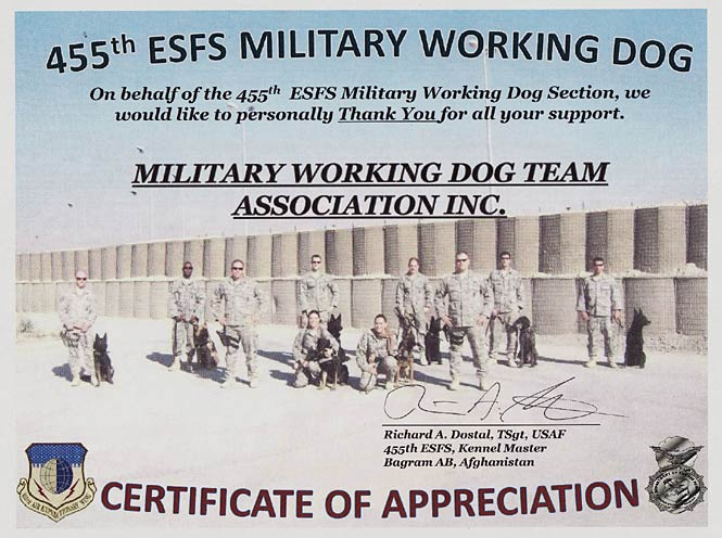 455th ESFS Military Working Dog Team Association Certificate of Appreciation