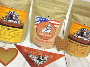 This photo shows the three coffee blends MWDTSA included in Q1-2019 care packages.