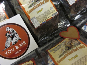 This photo shows packets of Smokehouse Jerky Company Gourmet Brisket Beef Jerky.