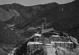 Durrance shot this photo of the Demilitarized Zone separating North and South Korea. The image shows a harsh, uninviting landscape.
