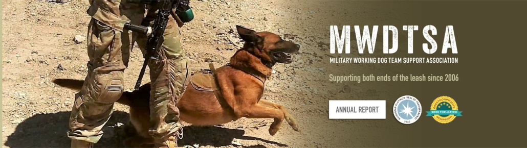 """This photo shows a military working dog springing to action. The words beside the image say, """"MWDTSA, Military Working Dog Team Support Association, Supporting both ends of the leash since 2006."""""""