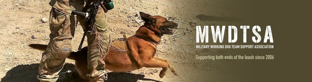 "This photo shows a military working dog springing to action. The words beside the image say, ""MWDTSA, Military Working Dog Team Support Association, Supporting both ends of the leash since 2006."""