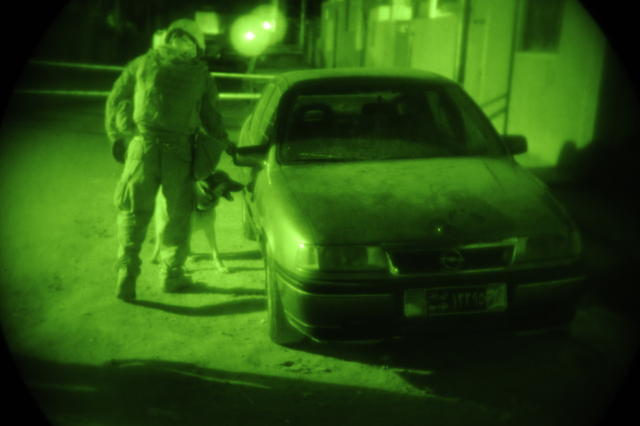 U.S. Marine Corps Staff Sgt. Chris Willingham, attached to Headquarters and Headquarters Company, 2nd Special Troops Battalion, 2nd Brigade Combat Team, 4th Infantry Division, directs his dog Lucca, a military working dog, to search a car parked near an Iraqi election site for explosives in Diwaniyah, Iraq, Jan. 30, 2009. (U.S. Air Force photo by Senior Airman Eric Harris/Released)