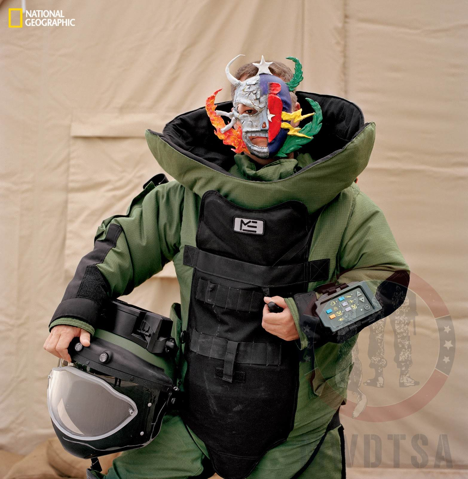 """Air Force Staff Sgt. Robert """"Bo"""" Wester, wearing his mask made in therapy."""
