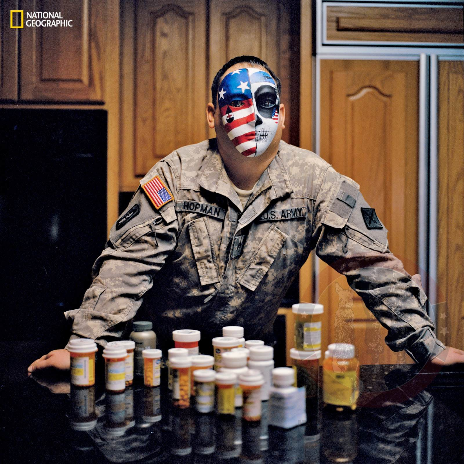 Army Staff Sgt. Perry Hopman wearing his half patriotic, half death head mask.