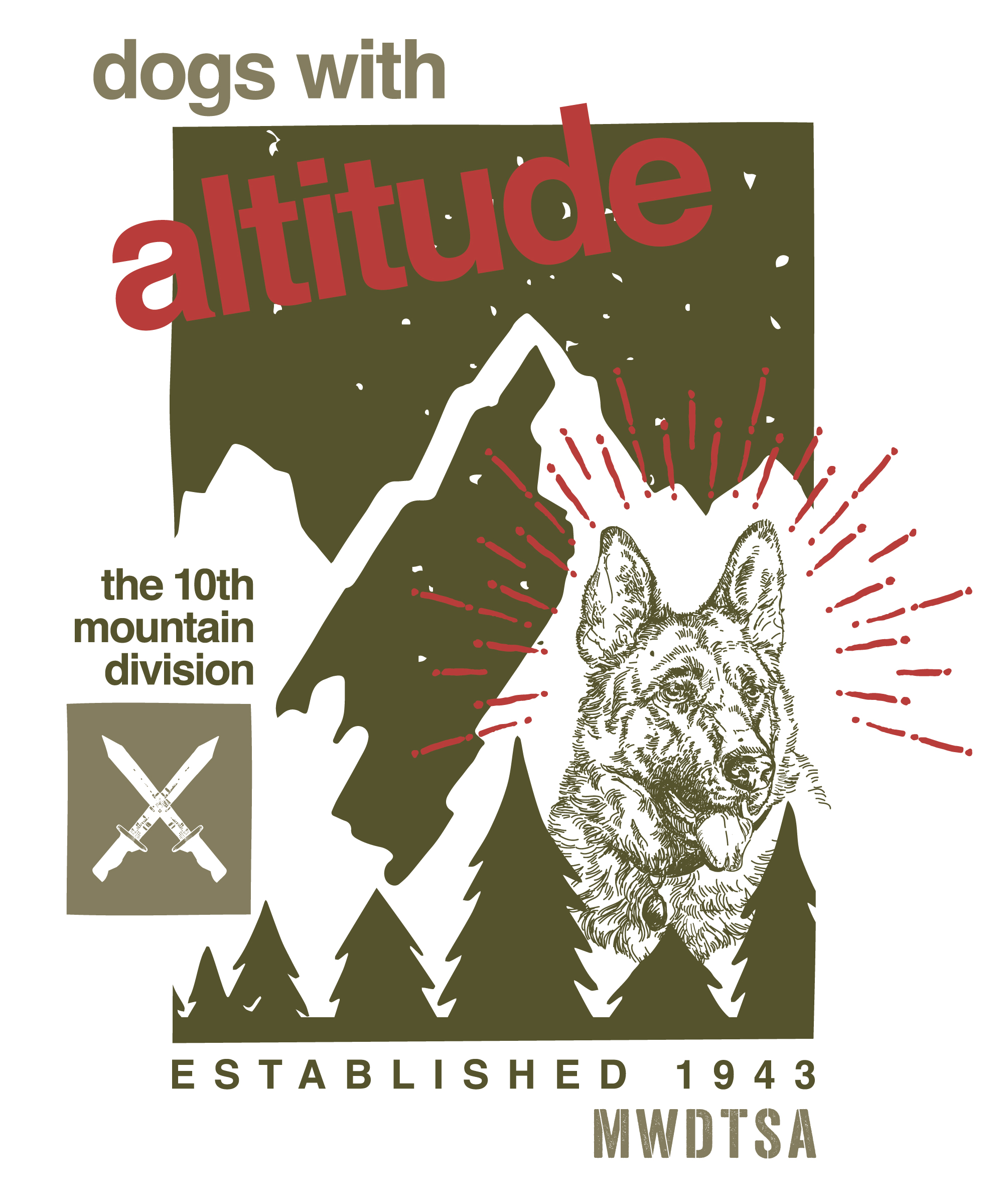 Graphic design for Q1 care package honors the World War II dogs of the 10th Mountain Division.