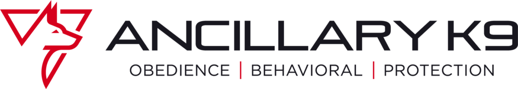 """This is the logo for Ancillary K9, a Colorado-based dog training organization. The logo includes a red line drawing of a Malinois head profile inside an inverted triangle. The tag line reads, """"Obedience, Behavioral, Protection."""""""