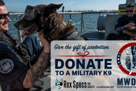 This photo features a Coast Guard K9 wearing dog eye protection. Superimposed on the photo is a message from Rex Spec about the donation drive.