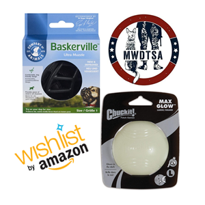 Every quarter, MWDTSA collects some care package items through an Amazon Wish List. This image shows the two items on the Q1-2021 list: a Chuckit brand glow-in-the-dark ball and a Baskerville muzzle. Thanks for supporting U.S. military working dogs!