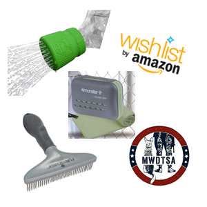 This photo shows the Amazon Wish List and MWDTSA logos, along with the three wish list items for Q2-2021. These are the Kurgo Mud Dog Shower, the Furminator undercoat rake and a cooling towel.