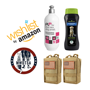 This graphic shows the Q4-2020 Amazon Wish List items--two different types of dog shampoo, as well as tan canvas gear pouches with American flag patches.
