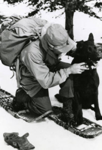 Photo of handler and dog from Camp Hale, circa 1943-1944.
