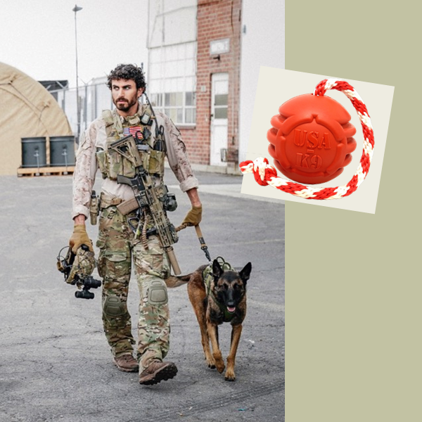 "This image shows Justin and Dita from the TV show SEAL Team walking. On the right is an inset showing the USA-K9 rubber ""Stars and Stripes"" rope toy."