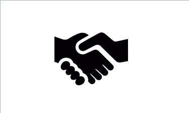 Black and white clip art of a handshake.