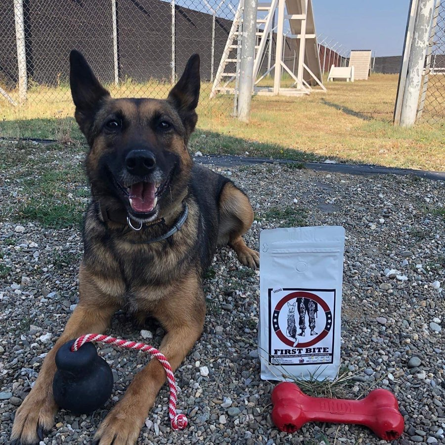 "This photo pictures a military working dog laying next to a bag of Pale Horse ""First Bite"" coffee."