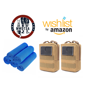 This graphic includes the Amazon Wish List logo, MWDTSA logo, and the pouches and cooling towels we are collecting for Q2-2020 care packages.