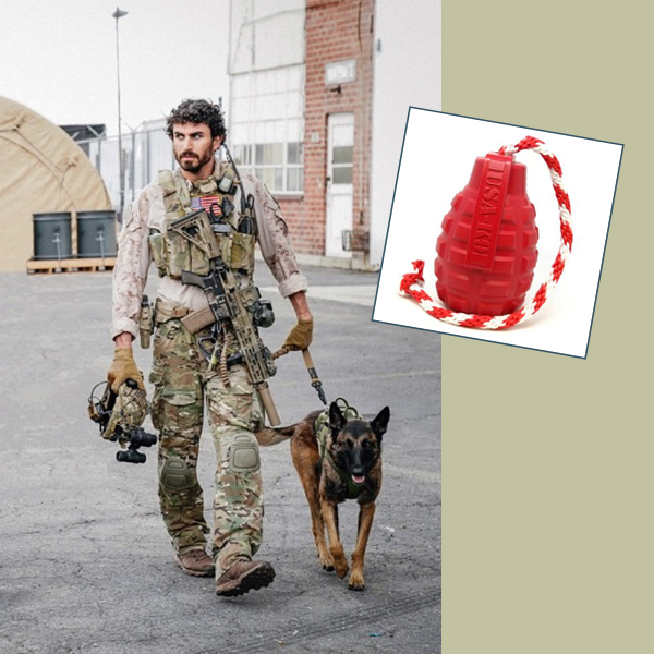"The image shows Justin and Dita from the TV show SEAL Team walking. On the right is an inset showing the USA-K9 rubber ""Grenade"" reward toy."