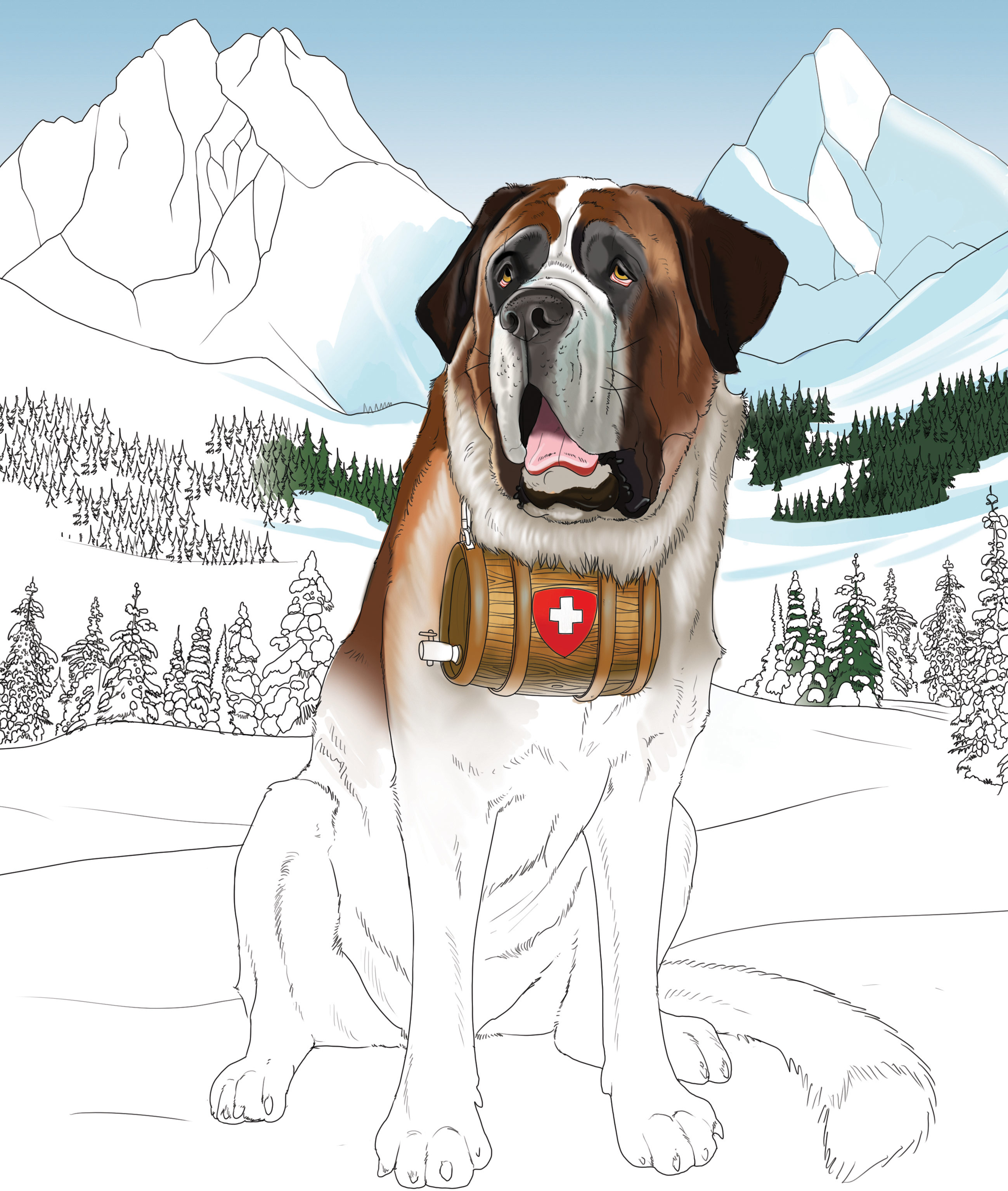 Coloring page shows St. Bernard dog with snowy mountain background. Dog is wearing a flask around his neck.