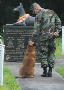 Handler and military working dog stand before MWD memorial on Guam.