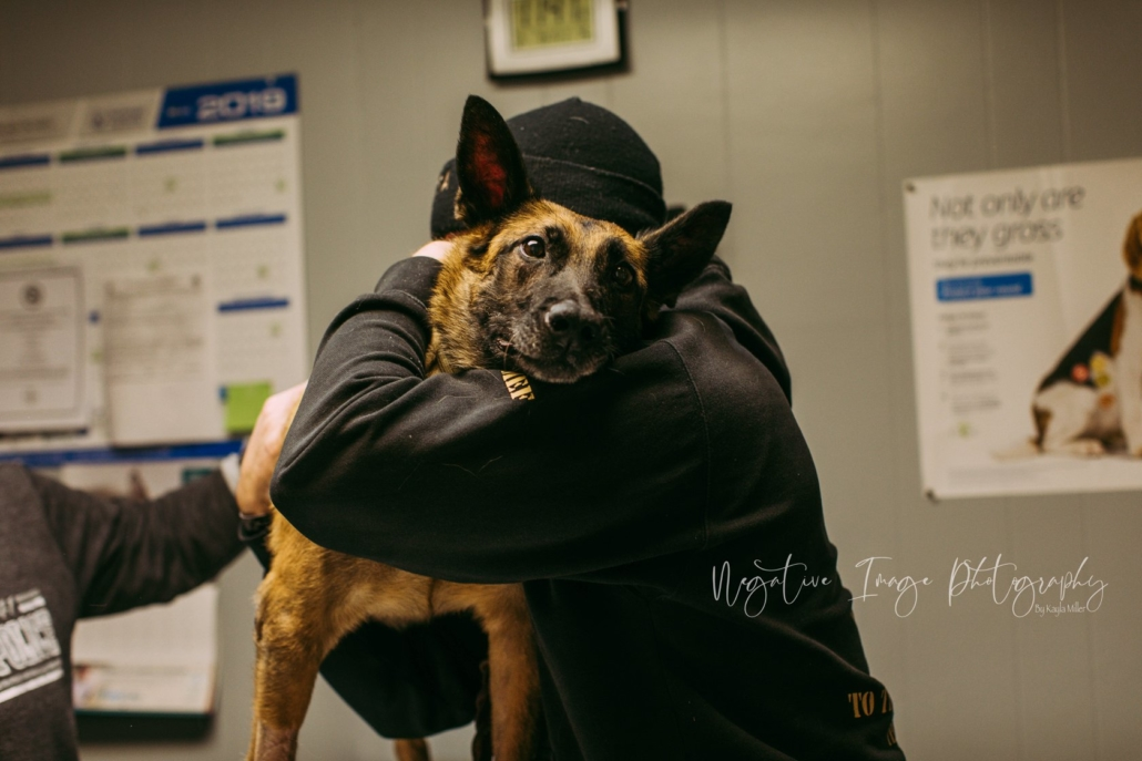 This heart-wrenching image shows Mark Daniels giving RMWD Aura a final embrace.