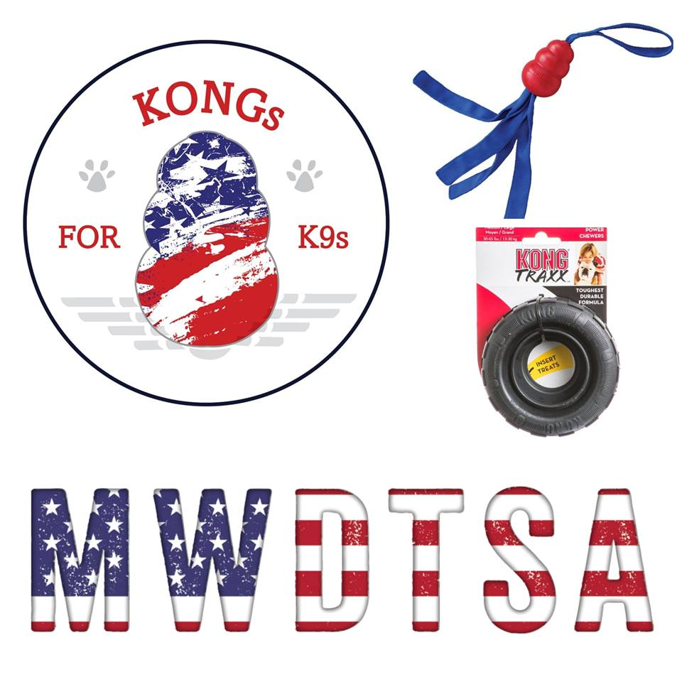 This image features the KONGs for K9s logo, MWDTSA logo, and the two KONG toys that participating retailers are collecting in this year's drive. One is a KONG Extreme Tire. The other is a throw-tug toy.