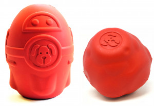 This product photo features the Spotnik Rocket and Spotnik Asteroid toys from True Dogs, LLC.