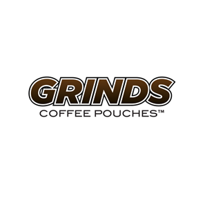 Logo for the company GRINDS, manufacturer of coffee pouches.