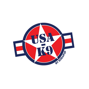 This is the logo of USA-K9, manufacturer of durable military-theme dog toys and one of MWDTSA's sponsors.