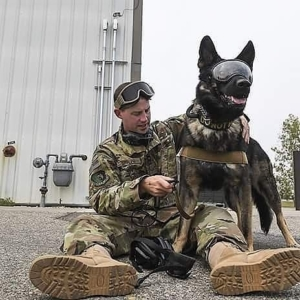This photo shows a male service member sitting on the ground, putting safety equipment on his MWD. The MWD is standing and wearing RexSpecs dog goggles.